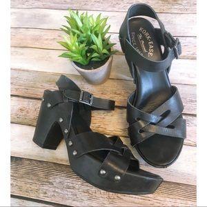 Kork Ease Deborah Black Leather Chunky Sandal
